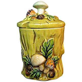 SALE LEFTON's Mushroom Forest Jam Jar Design # 6358 circa 1970