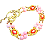 SALE Victorian Revival Cameo Bracelet by GOLDETTE w/ Glass Angel Pink Coral