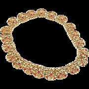 SALE Stunning TRIFARI Red Rhinestone Flower Blossom LINK Necklace - Patented c.1949