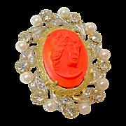 NETTIE ROSENSTEIN's Hi-Relief Glass Coral Cameo Brooch Rhinestones Faux Pearls circa 1950