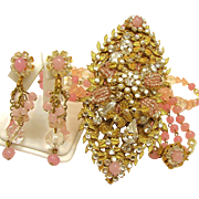SALE HASKELL's Pink PATE de VERRE 4 Inch Drippy Centerpiece Drop Necklace w/ Earrings