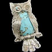 SALE BEAU STERLING's Wise Winking Owl w/ Glass Turquoise Belly Brooch