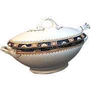SALE English SAUCE TUREEN Gilted Cobalt Windsor Pattern Enoch Wood & Sons circa 1907