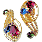 SALE Hobé CLIMBER Jewel-tone Earrings Rhinestones Pat. Pend. early c.1950's