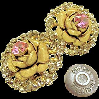 SALE Rare ROSE Pink Rhinestone Blossom Earrings Haloed w/ Rose Montee c.1940's