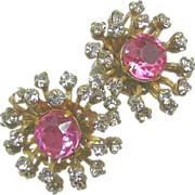 SALE Vintage Rare HASKELL Earrings w/ Pink Centers 'n BURST of Prong Set PASTES c ...