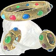 SALE CASTLECLIFF's Glass Stone Studded 'BEAUTY BANDS' Bracelet 'n Earrings-Mogul Jewels of Ind