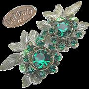SALE Green Rhinestone Large DeMARIO 'n Silver Gilt EARRINGS c.1950's