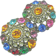 SALE Flashy Art Deco Jewel-Tone Rhinestone Earrings w/ Patent 1967965 Clips c.1934