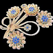 SALE Huge COROCRAFT STERLING Blue Rhinestone Flower Brooch & Earrings Bookpieces c.1940's
