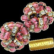 CASTLECLIFF's Hand Wired Swirling Purple Baroque Glass Earrings w/ Rhinestone Rhondel circa 1950's
