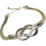 SALE Striking CastleCliff Love Knot Serpentine Chain Necklace circa 1960