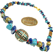SALE HASKELL's Lapis 'n Turquoise Natural Stone Enhanced Necklace by LARRY VRBA