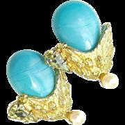 HATTIE CARNEGIE's Exotic Flower Earrings - Glass Turquoise 'n Rhinestones
