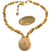SALE Classic HASKELL SHELLS w/ WOOD Necklace 'n Russian Gilt Accents