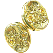 SALE MARINO's Victorian Revival Golden Floral Earrings w/ Honey Rhinestones c.1940's