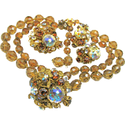 SALE Glitzy De MARIO 1950's Eye Candy PARURE of Faceted Topaz 'n Aurora Borealis Glass