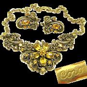 SALE Victorian Revival CORO Curly Ribbon 'n Rhinestone Flower Necklace w/ Earrings