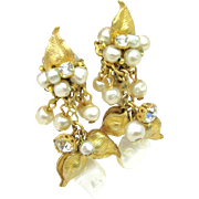 Drippy DeMARIO Floral Earrings Glass Pearls, Rhinestones w/ M.O.P. c.1950's