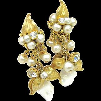 Drippy DeMARIO Floral Earrings Glass Pearls, Rhinestones w/ M.O.P. c.1950's