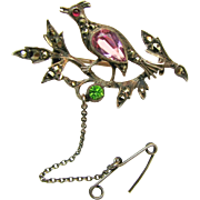 SALE Outstanding Continental Silver 'n Paste Rare Figural Brooch w/ Marcasites c.1900