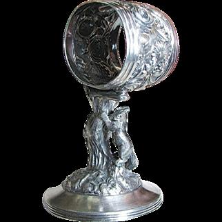 SALE Rare Victorian REED BARTON SQUIRREL Standing Napkin Ring Holder c.1895