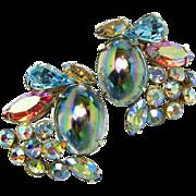 SALE Large Alice Caviness Watermelon Glass Stone 'n Rhinestone Earrings c.1950s