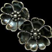SALE Mid-Century Coro in Script Figural Floating Water Lily Flower Earrings