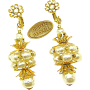 SALE Stunning HASKELL Baroque Glass Pearl Barrel Earrings w/ Russian Gilt Filigree