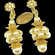 SALE Stunning HASKELL Baroque Glass Pearl Barrel Earrings w/ Russian Gilt Filigree