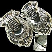 SALE Rhodium Plated KARU Classical Greek Ivy Floral 'n Grape Covered Lyre Earrings c.1940's