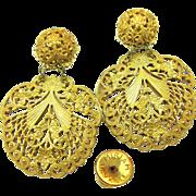 SALE Vintage Rare MIRIAM HASKELL Ornate PIERCED Earrings - 'Lacey' Filigree Pendants