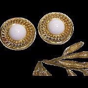 SALE Trifari - Large Golden White Cabochon Earrings