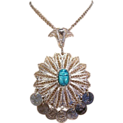 Large Filigree Silvery Scarab Coin Pendant Necklace