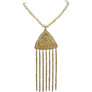 Elegant Dangling Pendant on Faux Pearl Necklace