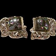 Vintage Coro Leaf-confetti Thermoset Earrings