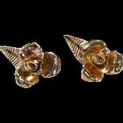 Vintage Coro Large Gold Flower leaf Earrings