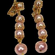 SALE Vintage Pearly Pink Dangling Earrings