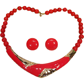 Vintage Lipstick Red Enamel Rhinestone Omega Style Necklace and Earrings