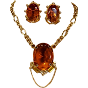 SALE Vintage Amber Glass Stone Necklace-Earrings Set