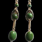 Green Turquoise Gem Earrings