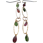 "Gem Tourmaline Earrings with 14k Gold Fill, 3"" Long"