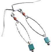 Turquoise Cube Gem Earrings with Sterling Silver and Coral