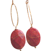 Apple Coral Gem Earrings with 14k Gold Fill