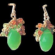Chrysoprase with Zircon Cascade Gemstone Earrings