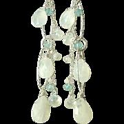 Moonstone and Aquamarine Gemstone Earrings