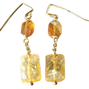 Citrine and Mandarin Garnet Gem Earrings