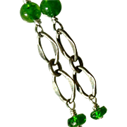 Nephrite Jade and Chrome Diopside Gem Earrings, Green and Green