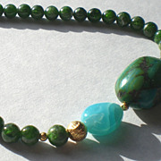 SOLD Turquoise, Peruvian Opal and Chrome Diopside with 20k Gold