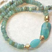 SOLD Blue Peruvian Opal Gemstone Necklace